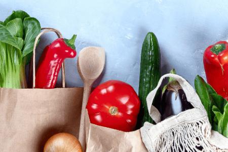 tasjes met groenten