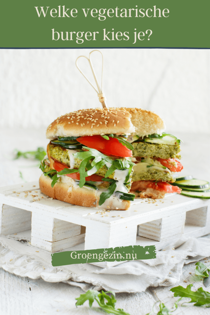 afbeelding van vegetarische burger om te pinnen op Pinterest